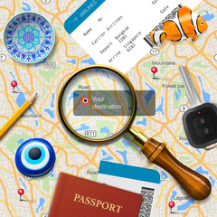Travel concept. Navigation - You are here. International
