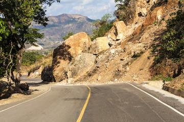 Landslide in the middle of a roadway in El Salvador