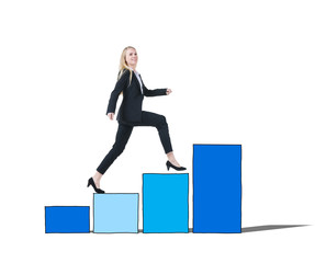 Businesswoman Bar Graph Moving Up Concept