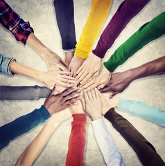 Group Human Hands Holding Together Concept