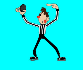Hockey referee hold a puck in his palm. Close view