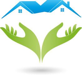 Logo, Immobilien, Zwei Häuser, Zwei Hände