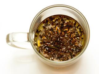 tea  in glass teapot, top view