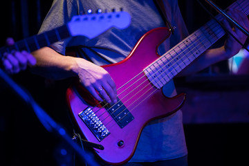bass guitar in concert