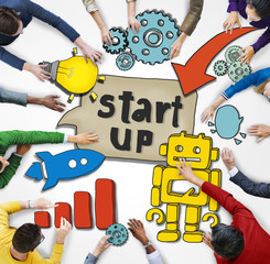 Aerial View People and Startup Business Concept
