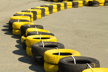 rubber tires on a sports track