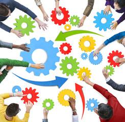 Multiethnic Colorful Teamwork Symbols Concept