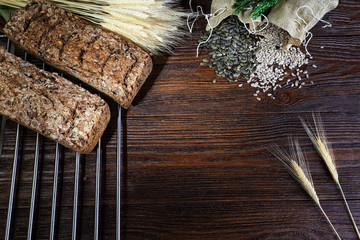 Delicious homemade rye bread baked in the oven
