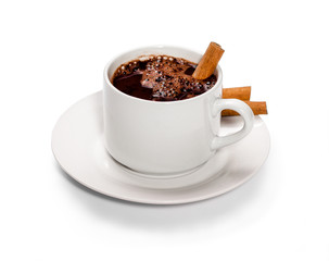 isolated white cup of hot chocolate with cinnamon.