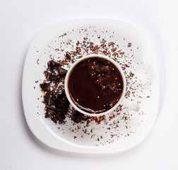 isolated white cup of hot chocolate. View from above