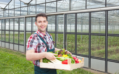 Sympathischer Landwirt mit Gemüse vor seinem Gewächshaus