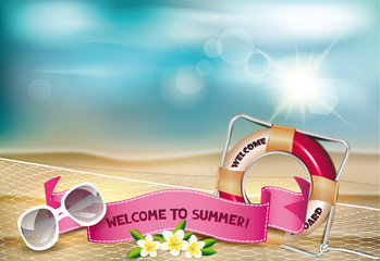 Summer background with flower, fishnet and lifebuoy