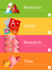 Set of infographic flat design banners with geometric diagram
