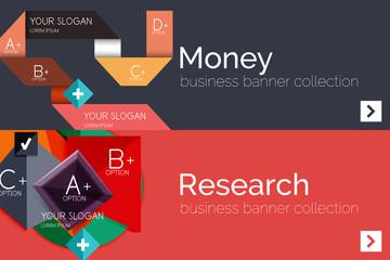 Flat design paper infographic banner set