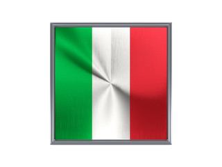 Square metal button with flag of italy