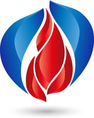 Logo, Feuer, Flame, Wassertropfen, Wasser