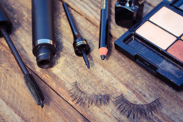 Cosmetics for eyes: pencil, mascara, eyeliner, false eyelashes