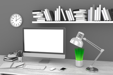 Office workplace 3d render