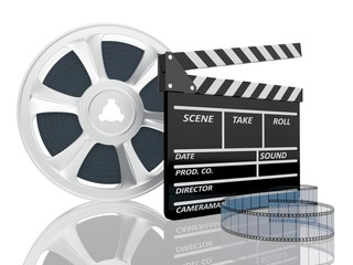 3d illustration of cinema clap and film reel, over white