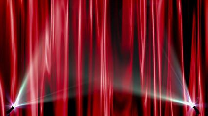 Red curtains spotlights