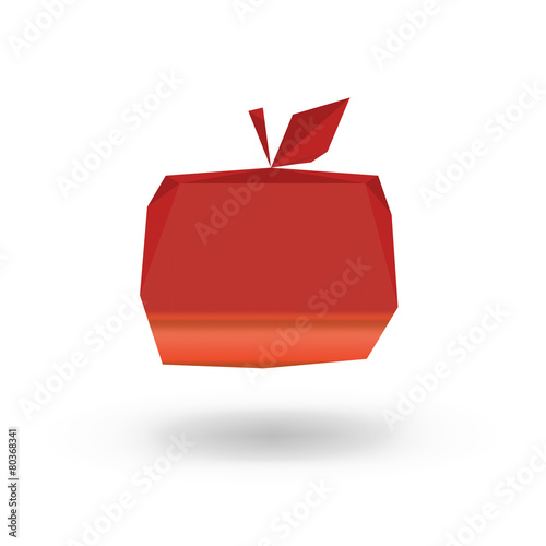 vector illustration - apple painted in low poly style