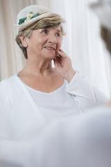 Senior lady wearing boater