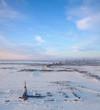 Oil headgear in tundra, top view