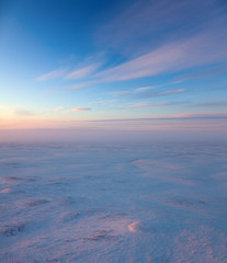 Short winter day in tundra, top view