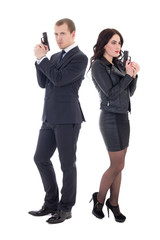 full length portrait of man and woman special agents with guns i