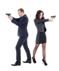 full length portrait of woman and man shooting with guns isolate