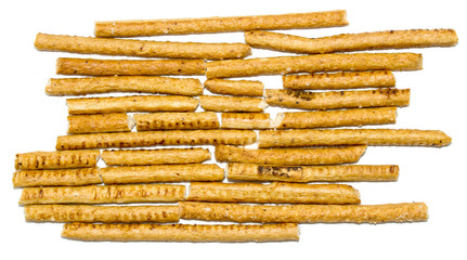 salted bread sticks on white background