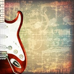 abstract grunge background with electric guitar