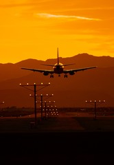 Airplane Travel at Sunset