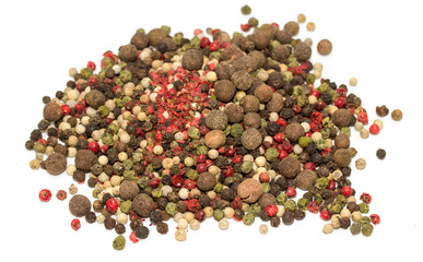 Round pepper on a white background, spices