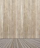 plancher et palissade de bois brut