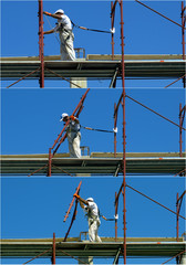Safety at work. Sequence worker assembles a scaffold