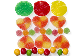 assortment of candies and jelly beans isolated