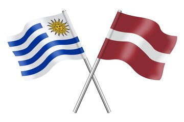 Flags: Uruguay and Latvia