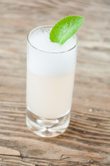a refreshing drink on a wooden background