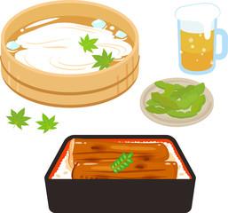 日本の夏の食べ物、鰻、素麺、枝豆