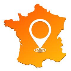 symbole géolocalisation sur carte de france orange
