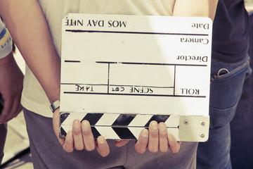 Film Slate, film crew production set