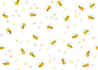 Vector seamless cute pattern of bees.