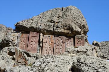 Khachkars (cross-stones) of Geghard monastery,Armenia,unesco