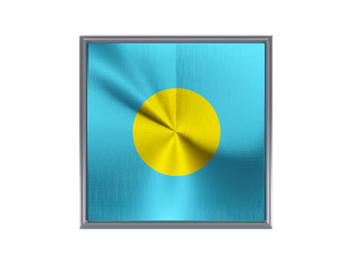 Square metal button with flag of palau