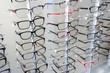 Leinwanddruck Bild - Brillenkollektion im Optikergeschäft