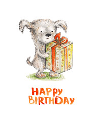 Dog with present. The birthday. Watercolor illustration