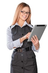 Ipad. Concept of using wireless technology by woman, video call