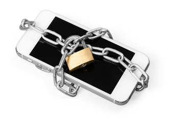 App. Smartphone With Chain And Padlock