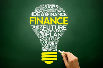 FINANCE bulb word cloud, business concept on blackboard
